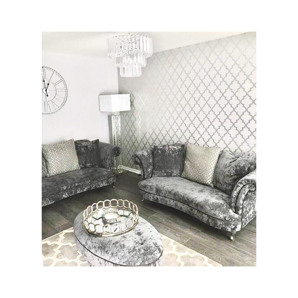 Camden Trellis Wallpaper Soft Grey Silver Living Room D