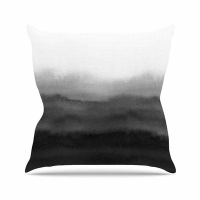 "East Urban Home Draper Ombre Ink Wash Outdoor Throw Pillow Size: 18"" H x 18"" W x 5"" D"