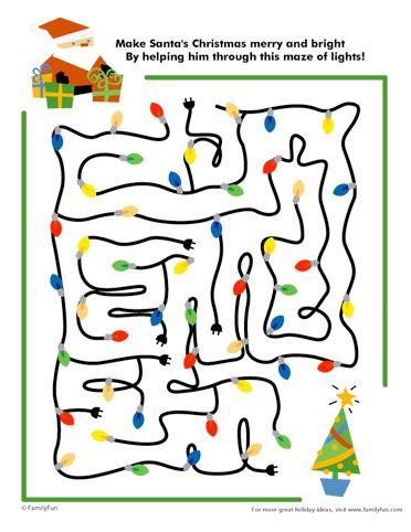Santas Christmas Lights Maze Printable Games for Kids
