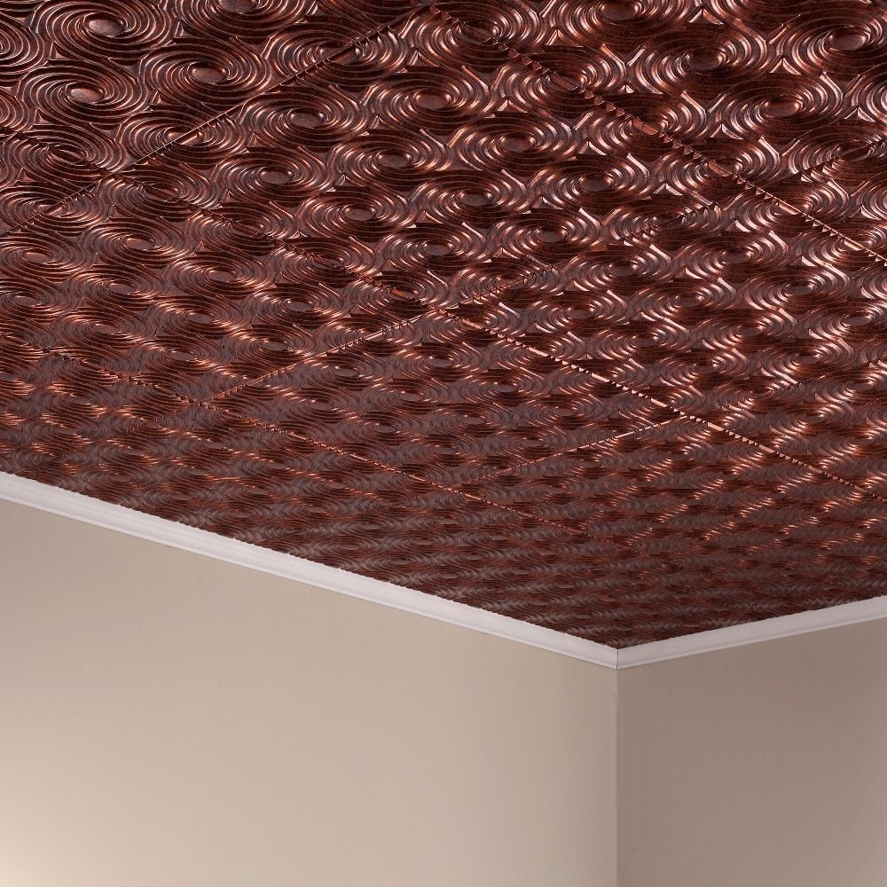 Fasade Cyclone Moonstone Copper 2-feet x 2-feet Glue-up Ceiling Tile