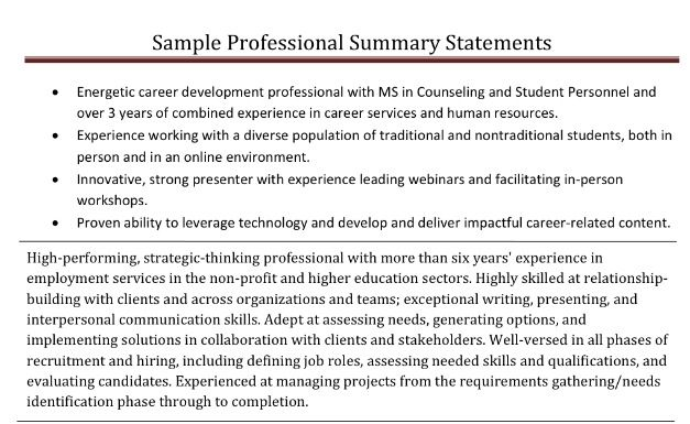 Professional summary samples Career - Tips \ Tricks Pinterest - example professional summary