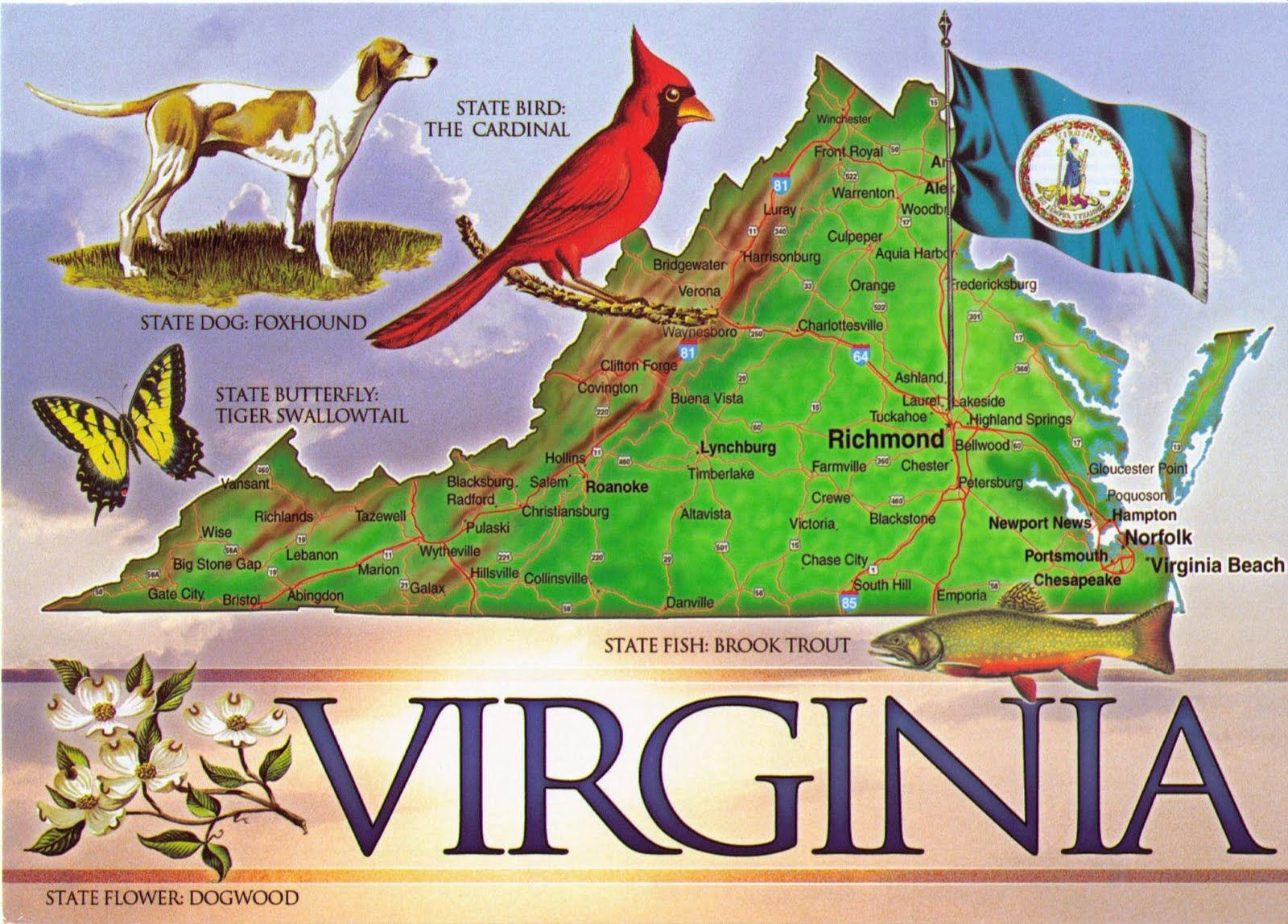 Usa Virginia State Map Virginia Postcard Virginia Is For Lovers