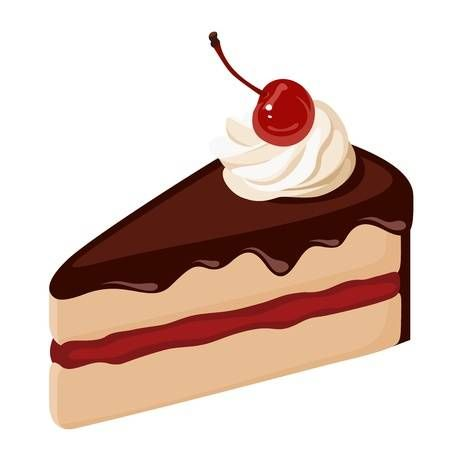 Piece Of Chocolate Cake With Cream And Cherry Vector Illustration Dessert Illustration Desserts Drawing Cake Illustration