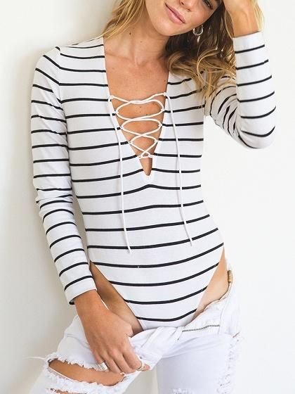 2dac85eaa4 Monochrome Stripe Plunge Lace Up Front Long Sleeve Bodysuit ...