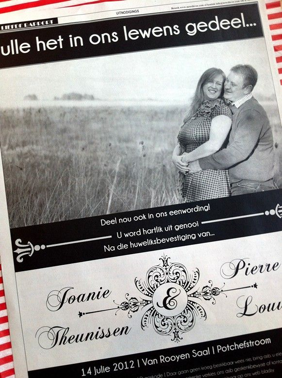Afrikaans Wedding Invitation I like this but in English of