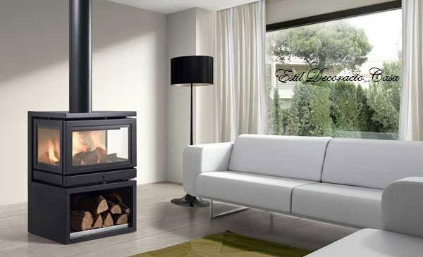 un po le au bois frontal panoramique avec 3 vitres po le. Black Bedroom Furniture Sets. Home Design Ideas