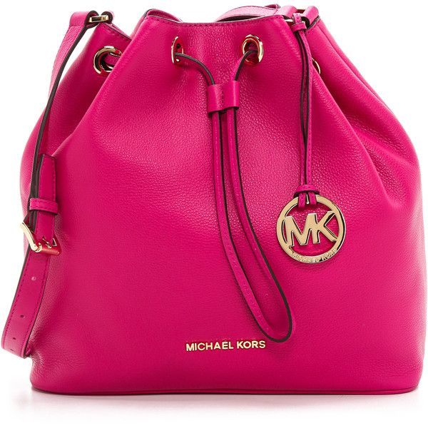Michael Kors Jules Large Drawstring Bucket Bag Fuschia 298 Liked On Polyvore Featuring Bags Handbags Purses Pink Leather