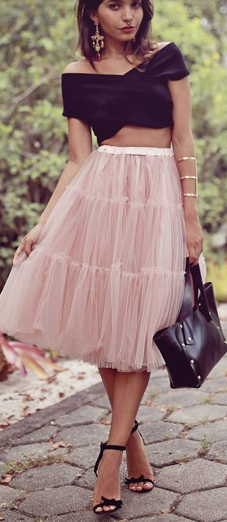 High waisted tulle + crop.