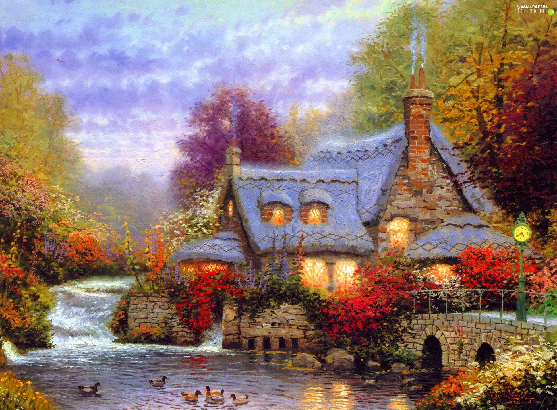 Download thomas kinkade autumn wallpaper high quality for Quality wallpaper for home