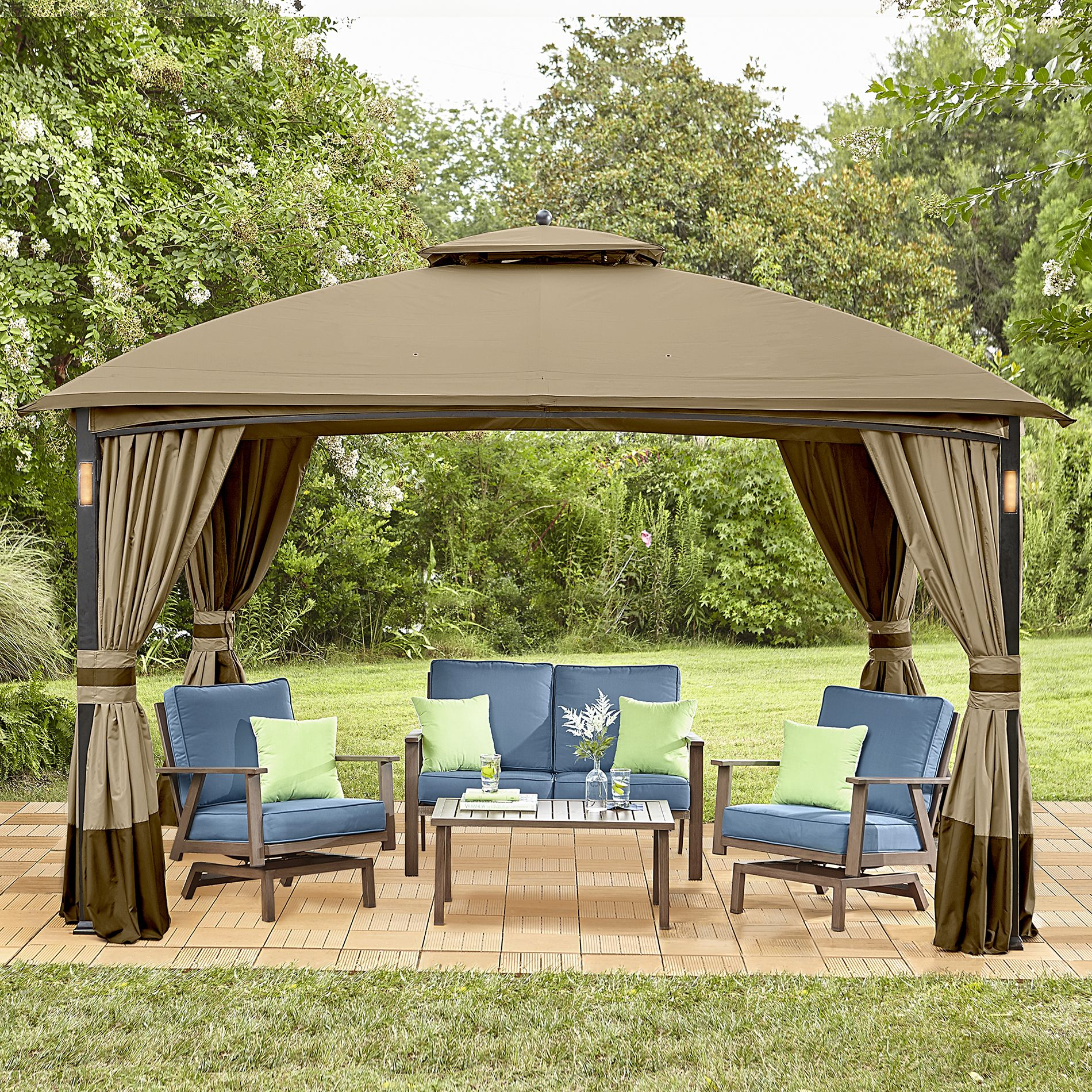 Garden Oasis Moorehead Music And Lighted Gazebo With Curtain And Netting Limited Availability Brown Gazebo Garden Oasis Pergola