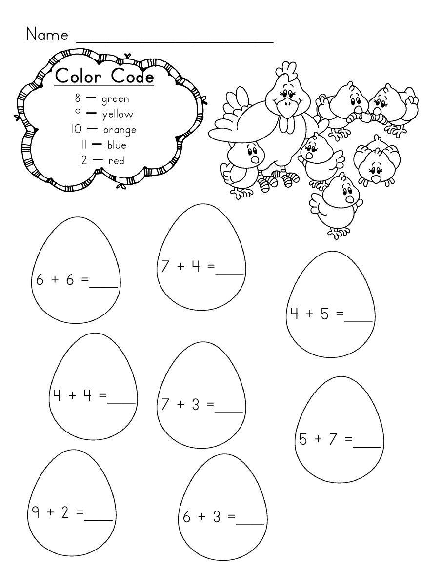 Addition Kindergarten Worksheets Easter Math Worksheets Kindergarten Language Arts Worksheets [ 1169 x 904 Pixel ]