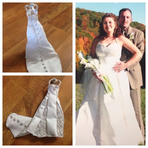 Miniature barbie doll sized wedding dress made from the materials ...