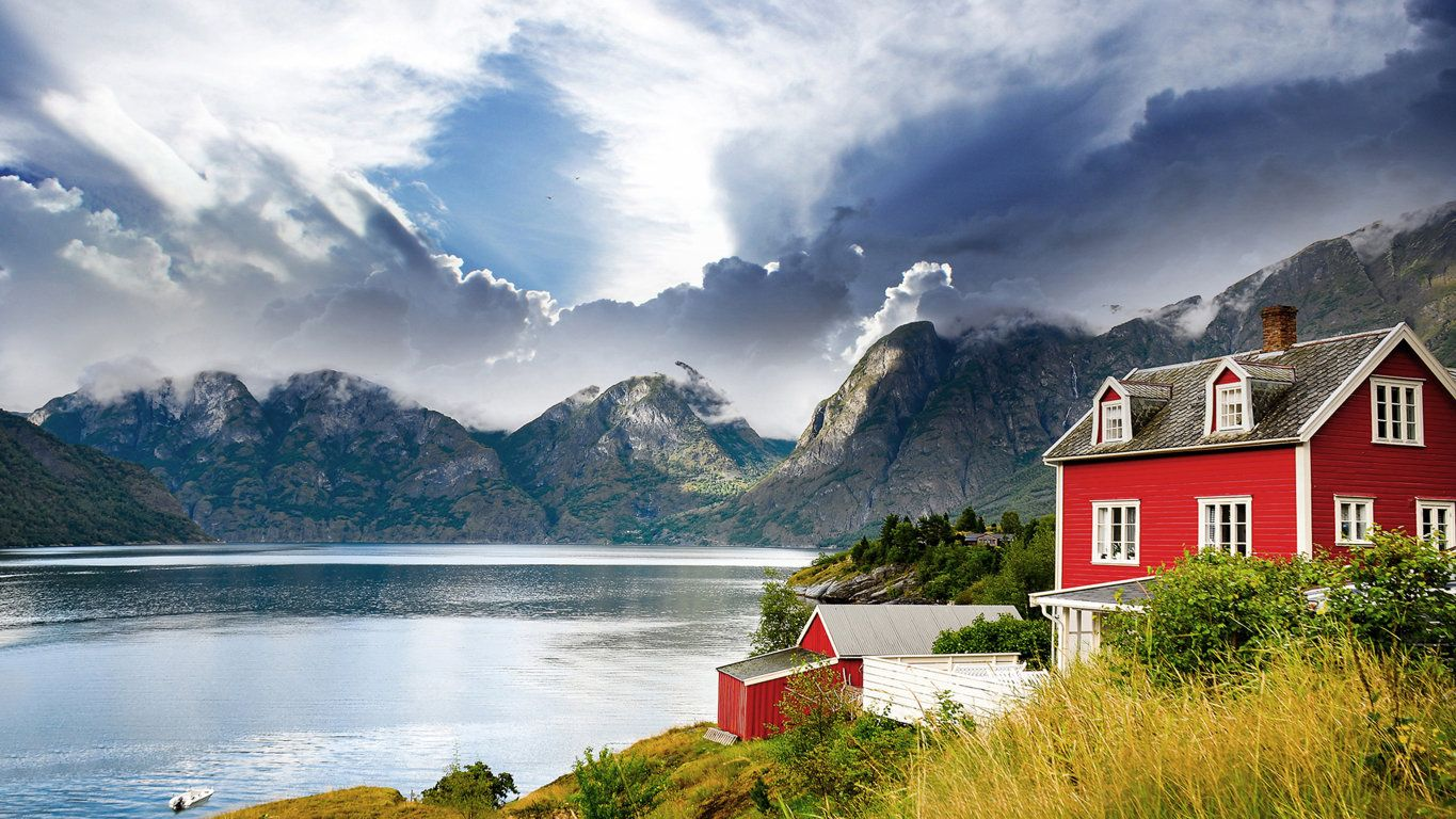 Nature » Mountains » Beautiful houses norway hd wallpaper