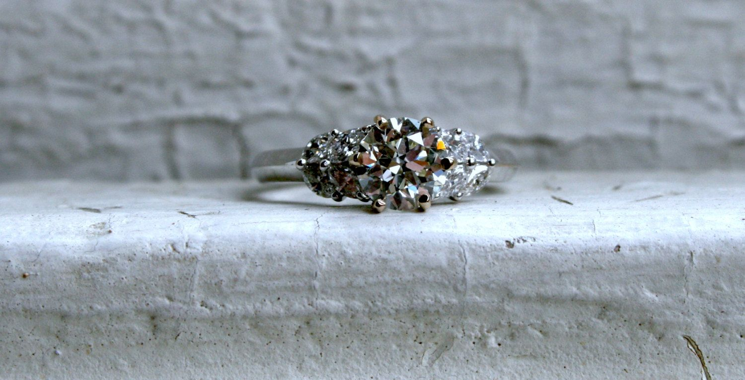 Gorgeous Vintage Leafy Diamond 18K White Gold by GoldAdore on Etsy, $3,985.00