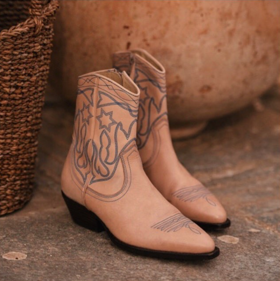 65a9c2e1f04 Sandro Embroidered leather cowboy boots #Boots #Sandro ...