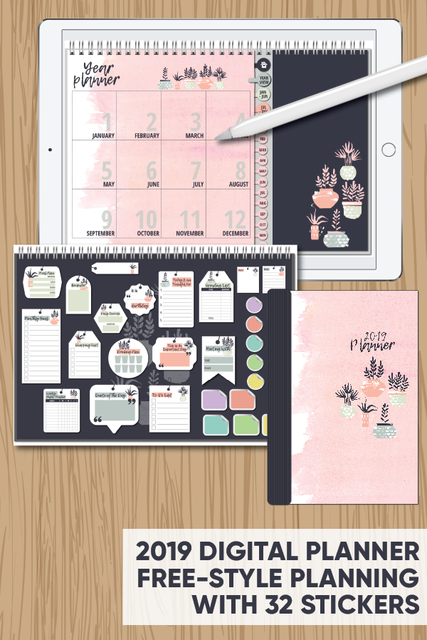 picture relating to Free Digital Planner Pdf called 2019 Cost-free-Structure Electronic Planner with 32 Coming up with Stickers