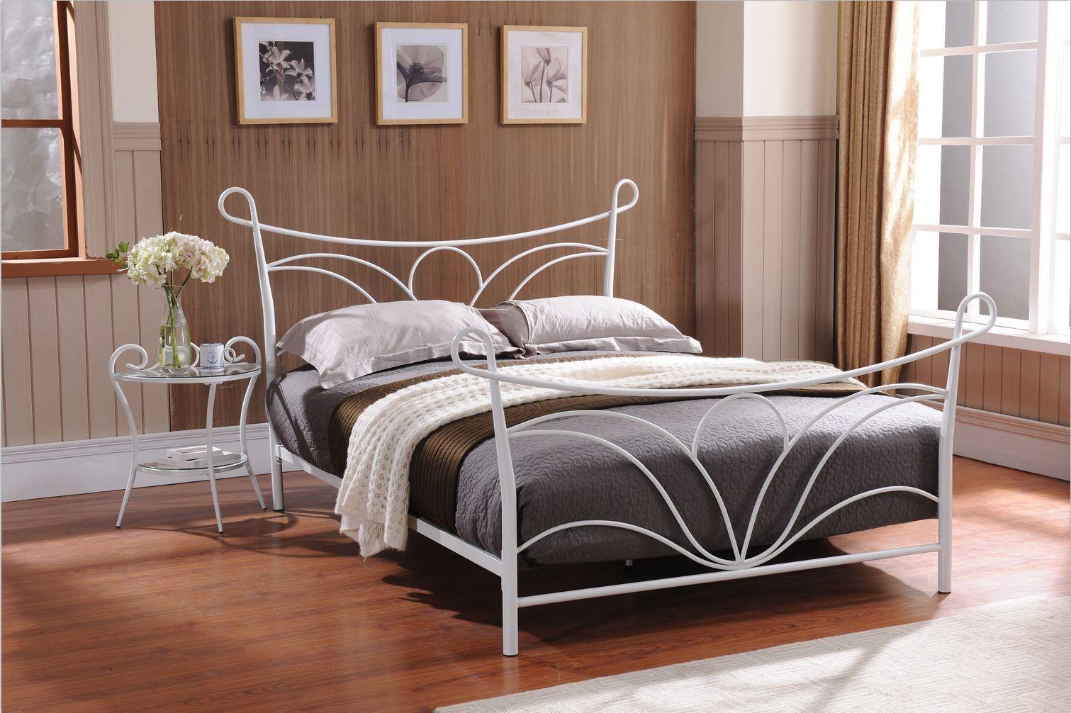 Hammer White Finish Metal Bed, Headboard Footboard Rails