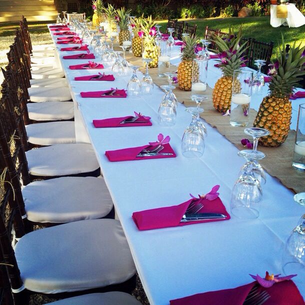 Hawaiian Wedding Reception Ideas: Table Set Up With Pineapple Centerpieces