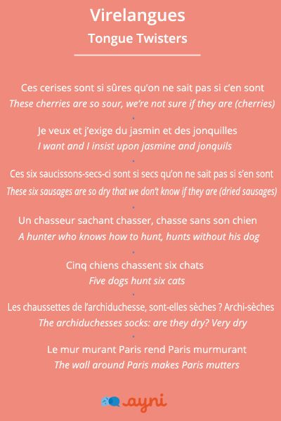 Virelangues Tongue Twisters To Practice Your French Pronunciation Apprendre Le Francais Apprentissage De La Langue Francaise Langue Francaise