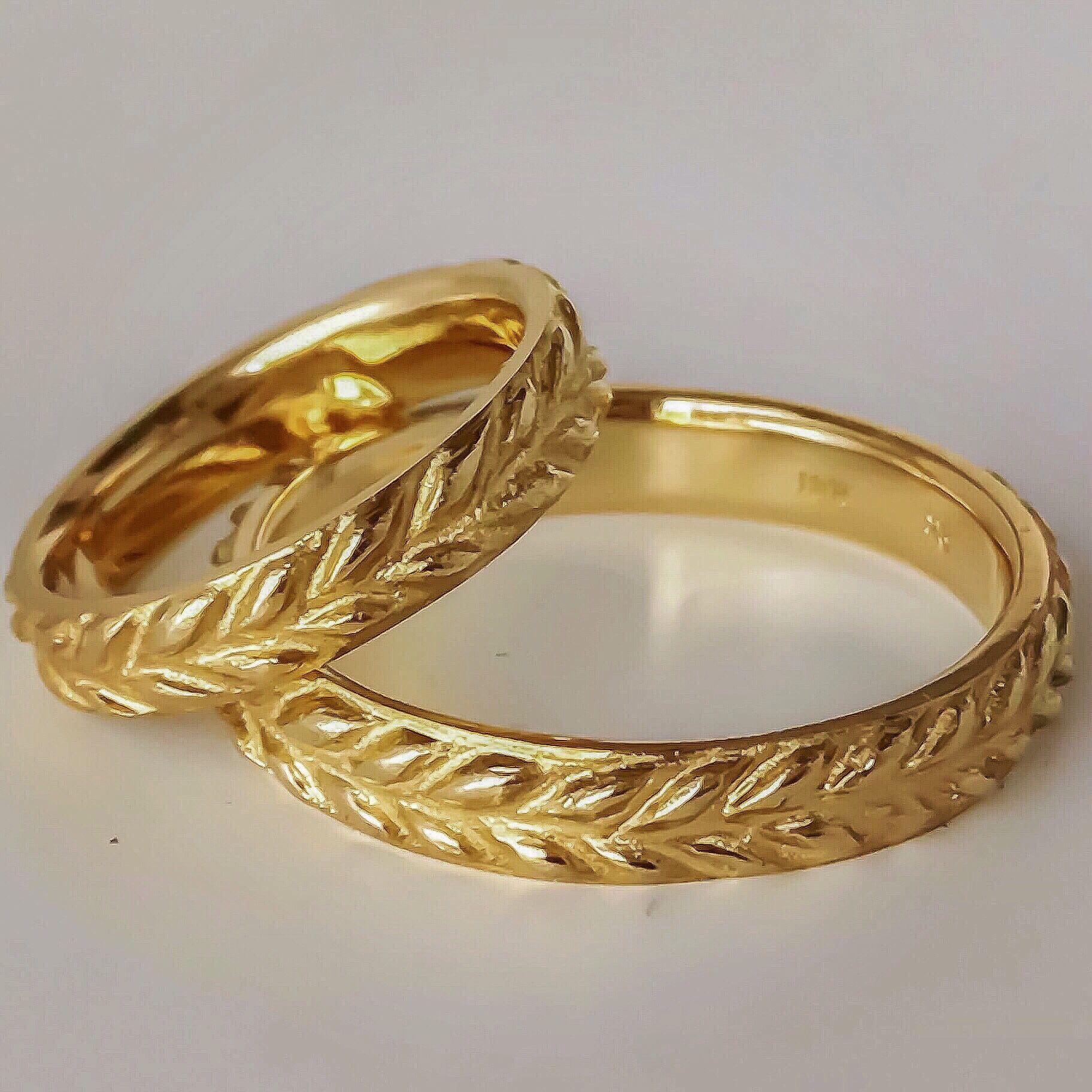 Roman Laurel Wedding Ring 18k Gold Wedding Band 4mm Wide Etsy 18k Gold Wedding Bands 18k Yellow Gold Wedding Band Vintage Wedding Band Gold