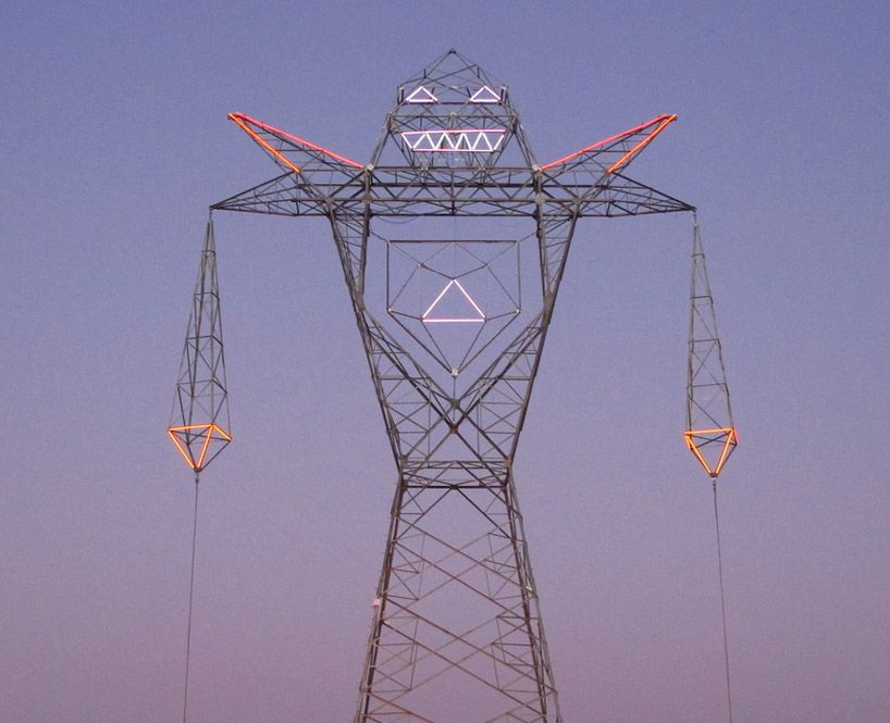 Argentinian Collective DOMA Turns Electricity Pylon Into A Giant - Architects turn icelands electricity pylons into giant human statues