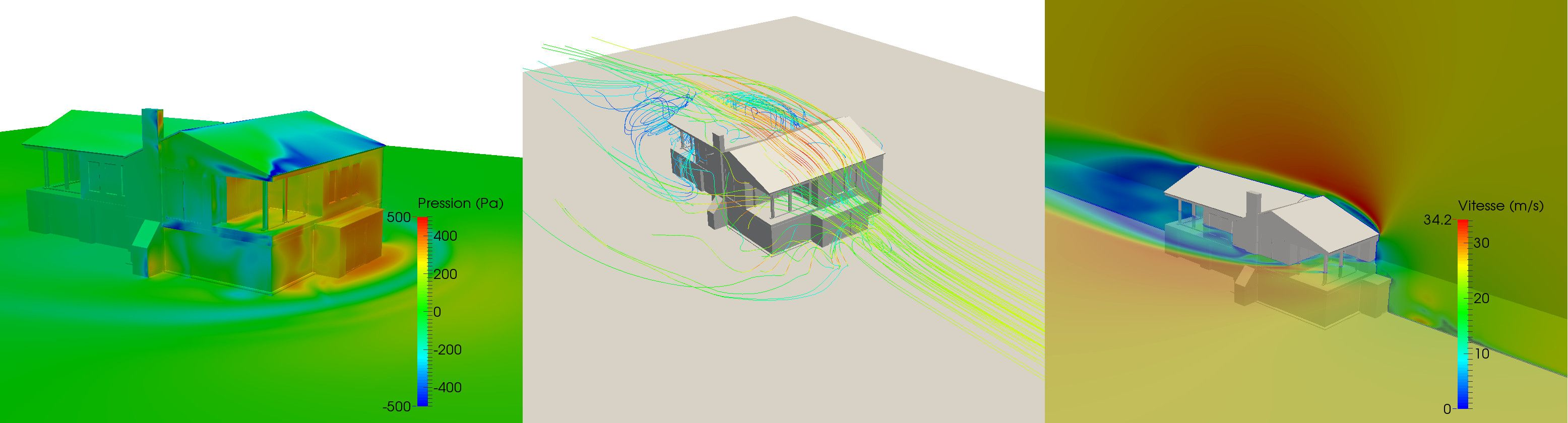 CFD simulation of the wind around a building  From left to right