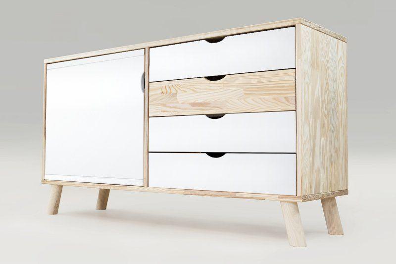 Buffet Scandinave Viking En Bois Naturel Et Blanc Mobilier De Salon Deco Salon Scandinave Meuble Rangement Salon