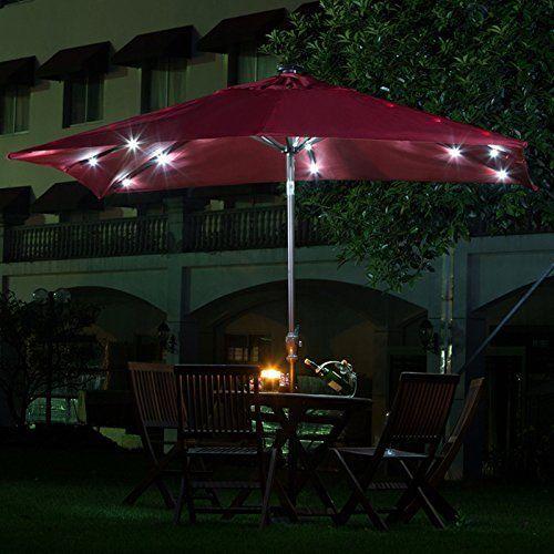 Rectangular Patio Umbrella, Patio Umbrellas With Solar Lights