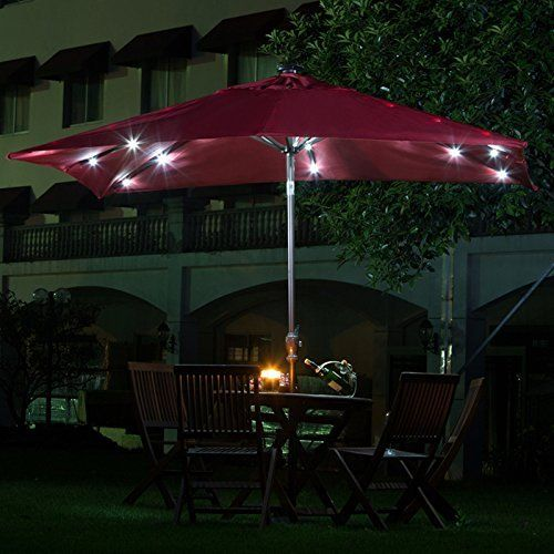 Amazon Com Abba Patio Aluminum 7 X 9 Feet Rectangular Solar Powered 28 Led Light Tilt Patio Umbrella Dark Re