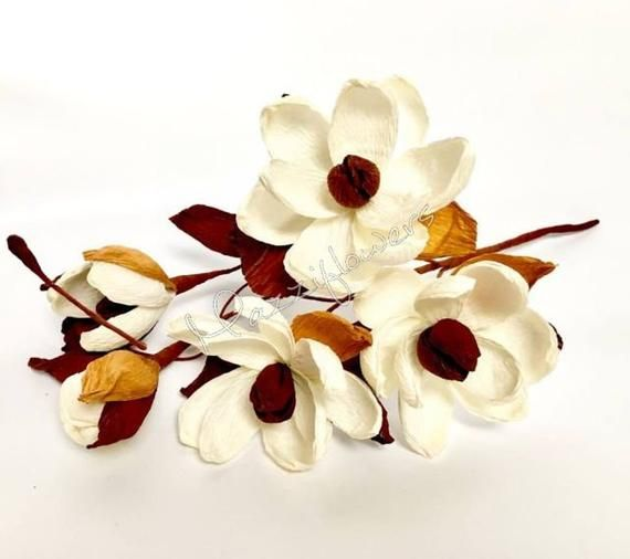 Bridal flower,wedding flower,paper flower,wedding bouquet,paper flower ivory magnolias,home decoration,decor paper flower #paperflowercenterpieces