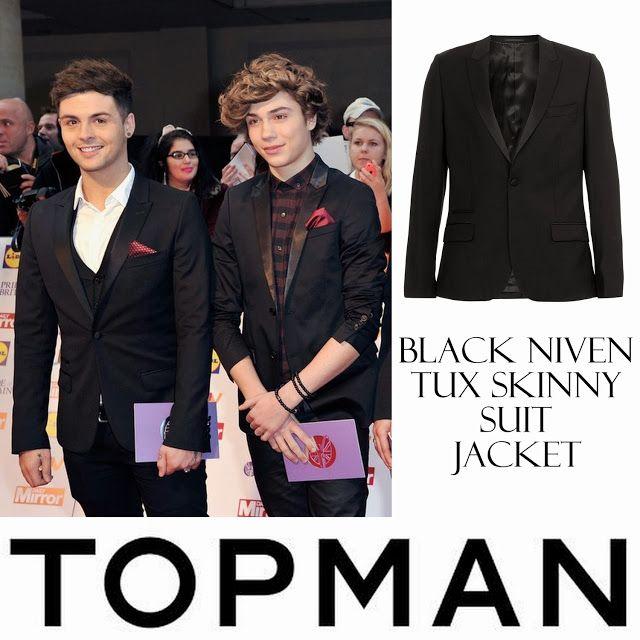 Male Fashion Trends: Jaymi Hensley y su Black Niven Tux Skinny Suit Jacket de Topman en los Pride of Britain Awards 2013