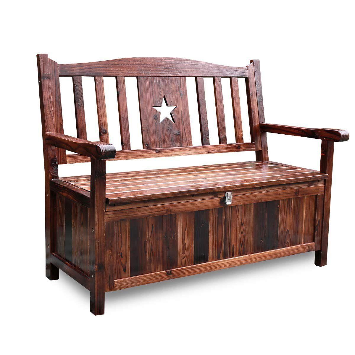 Amazon.com: Songsen Wooden Storage Bench With Arm And Back Garden Storage  Bench Chest Indoor Shoe Cabinet Chair: Kitchen U0026 Dining