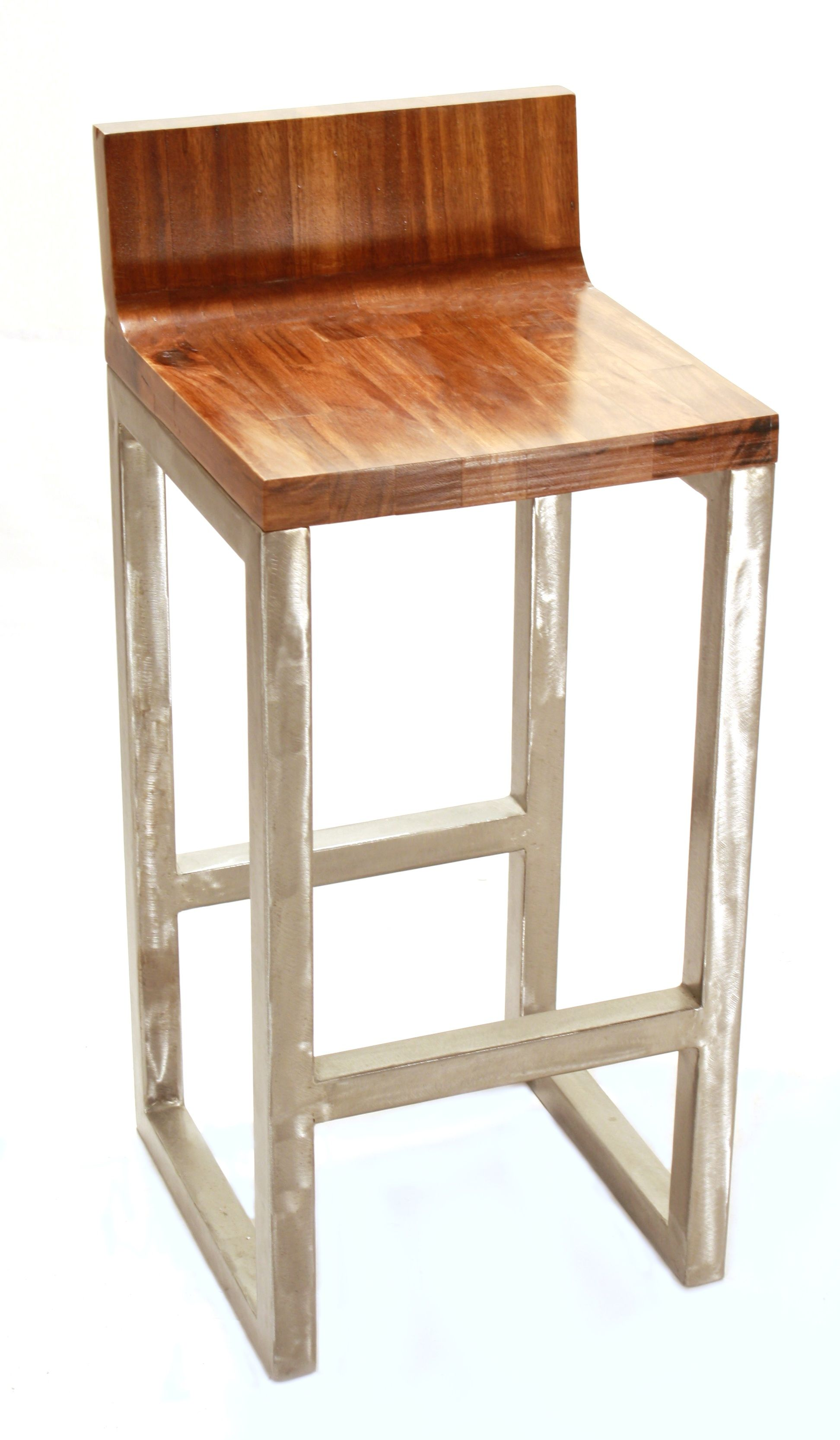 Light Brown Wooden Bar Stools With Back On Black Wooden Frame And