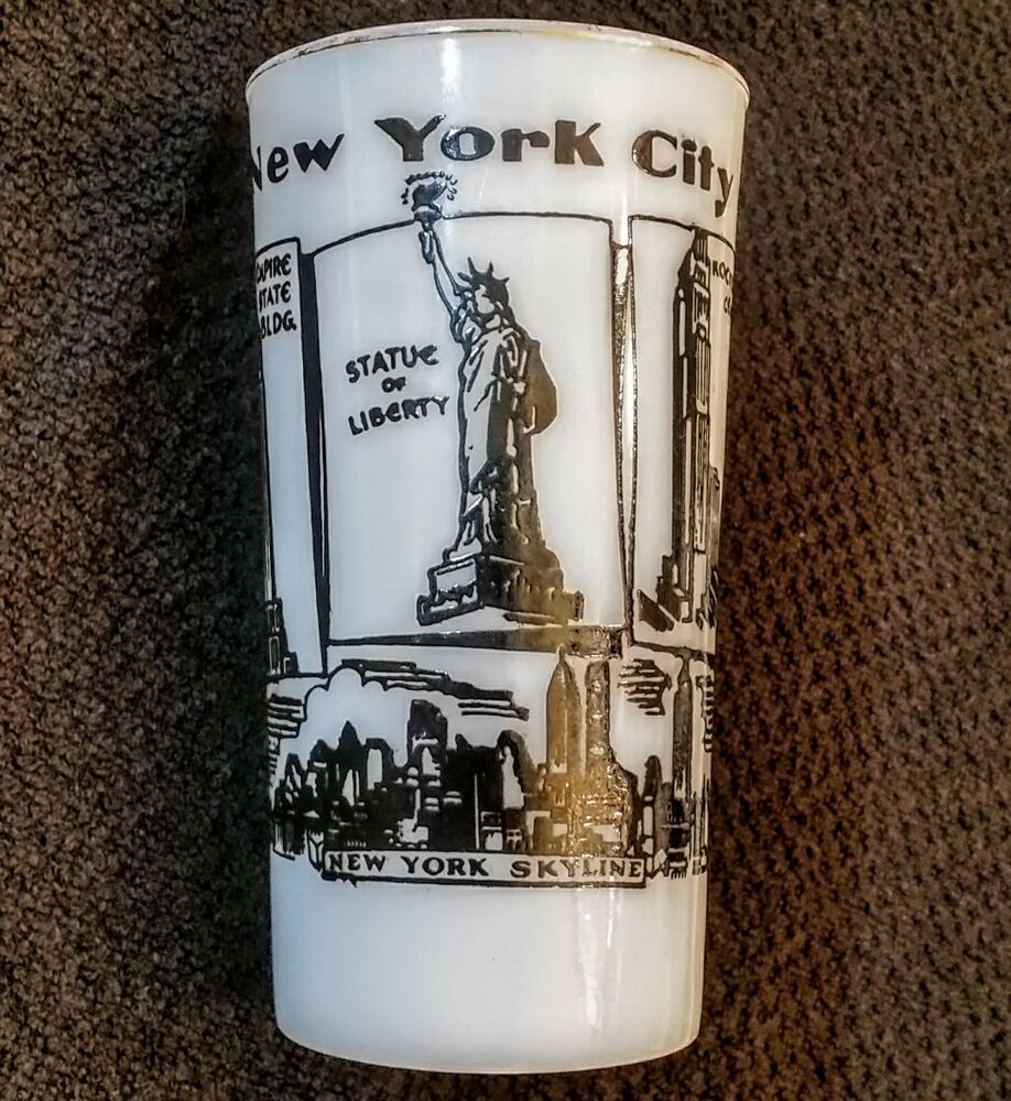 New York City Milk Glass Tumbler Vintage Hazel Atlas Empire State Building More Midcenturymodern Glass Tumbler Vintage Drinking Glasses Glasses Drinking