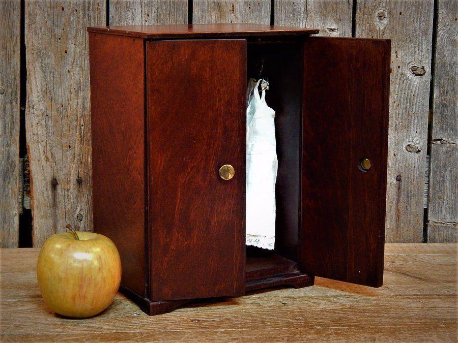 Rare Vintage Wood Doll Armoire Wardrobe Cabinet Salesman Sample AAFA
