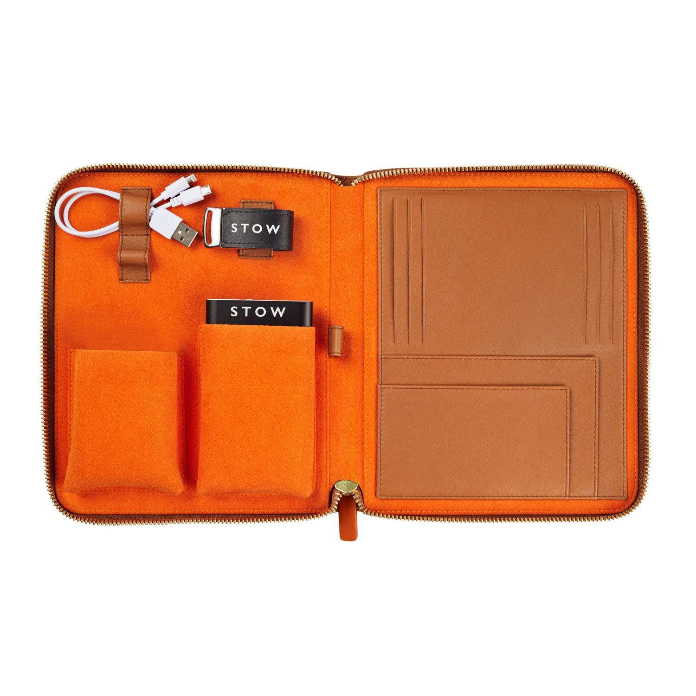 2571aba42 Sahara Tan & Orange STOW First Class Leather Tech Case in 2019 ...