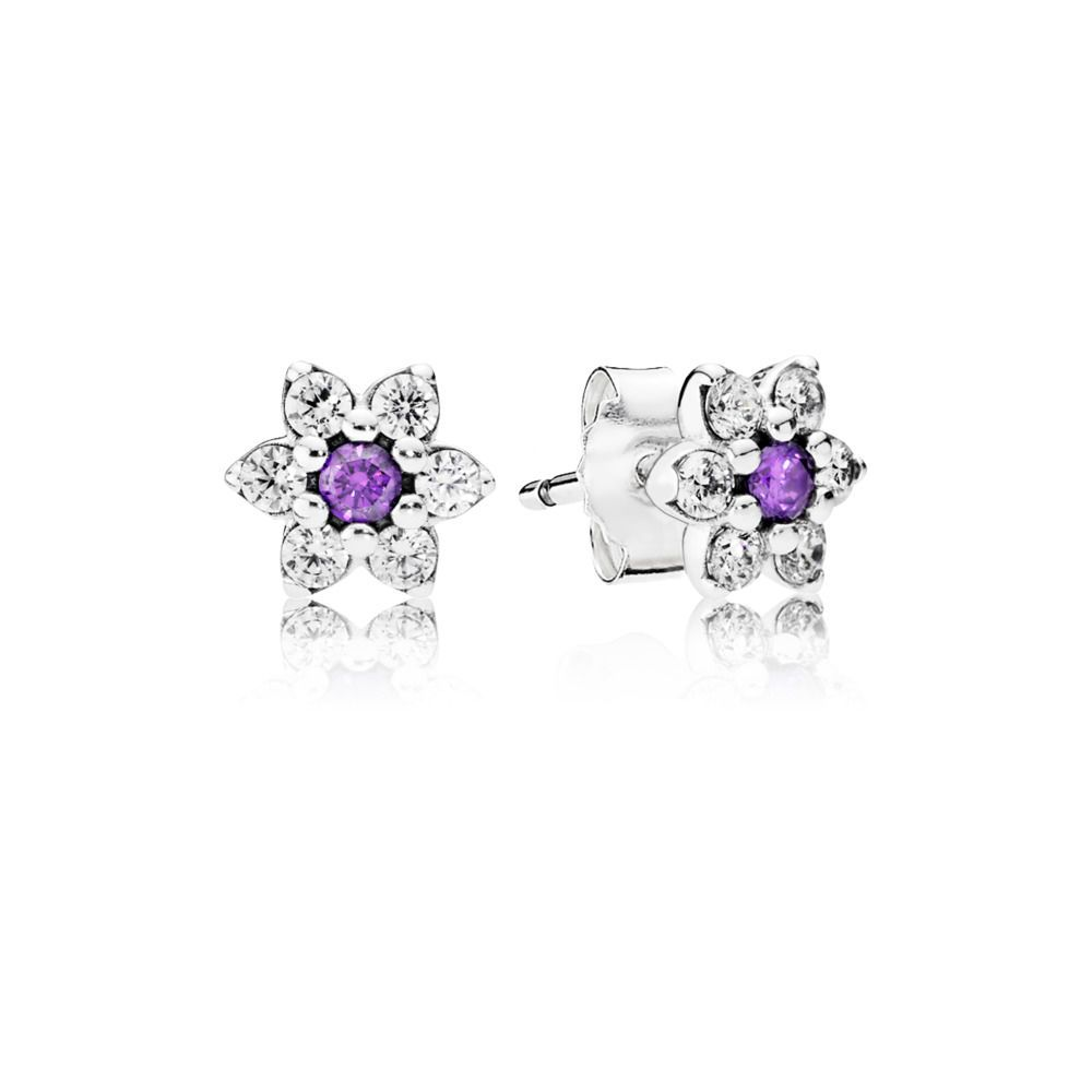 Stonebeads Pink Cherry Blossom Flower Stud Earrings in 925 sterling silver with pink enamel flowers. 3S0UK