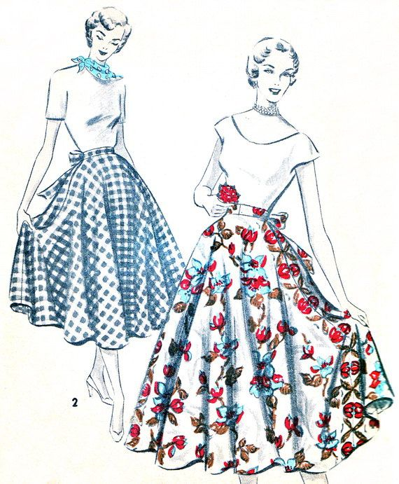 1950s Skirt Pattern Advance 5529 Rockabilly Half by paneenjerez ...
