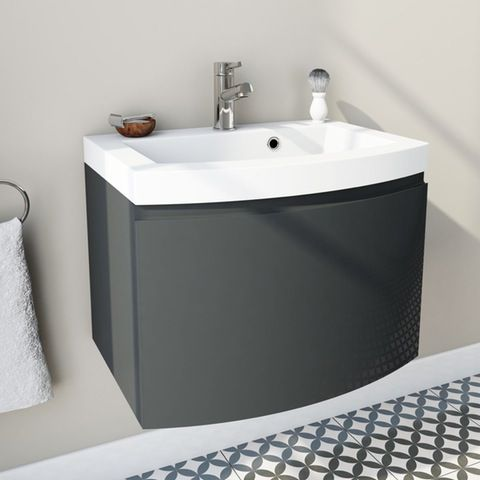 Mode Harrison Slate Gloss Grey Wall Hung Vanity Unit And Basin 600mm Wall Hung Vanity Vanity Units Vanity