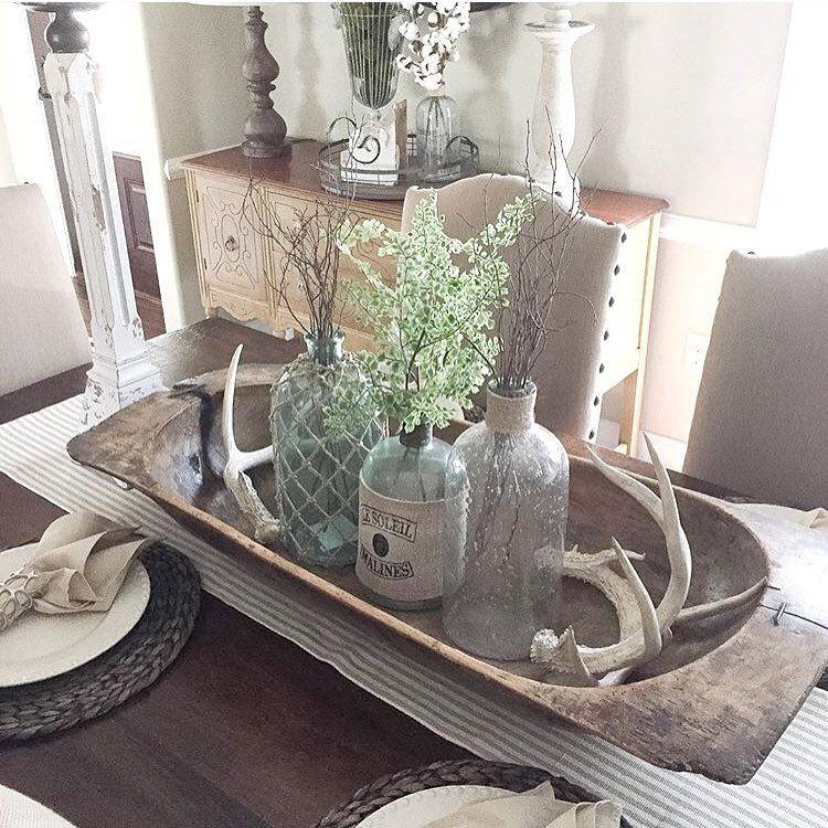 Gedeckter Tisch, Decken, Dekoration, Tischdekoration Für Küche, Schüssel  Mittelstück, Küchentische, Geweih Herzstück, Buffet Dekorationen, ...
