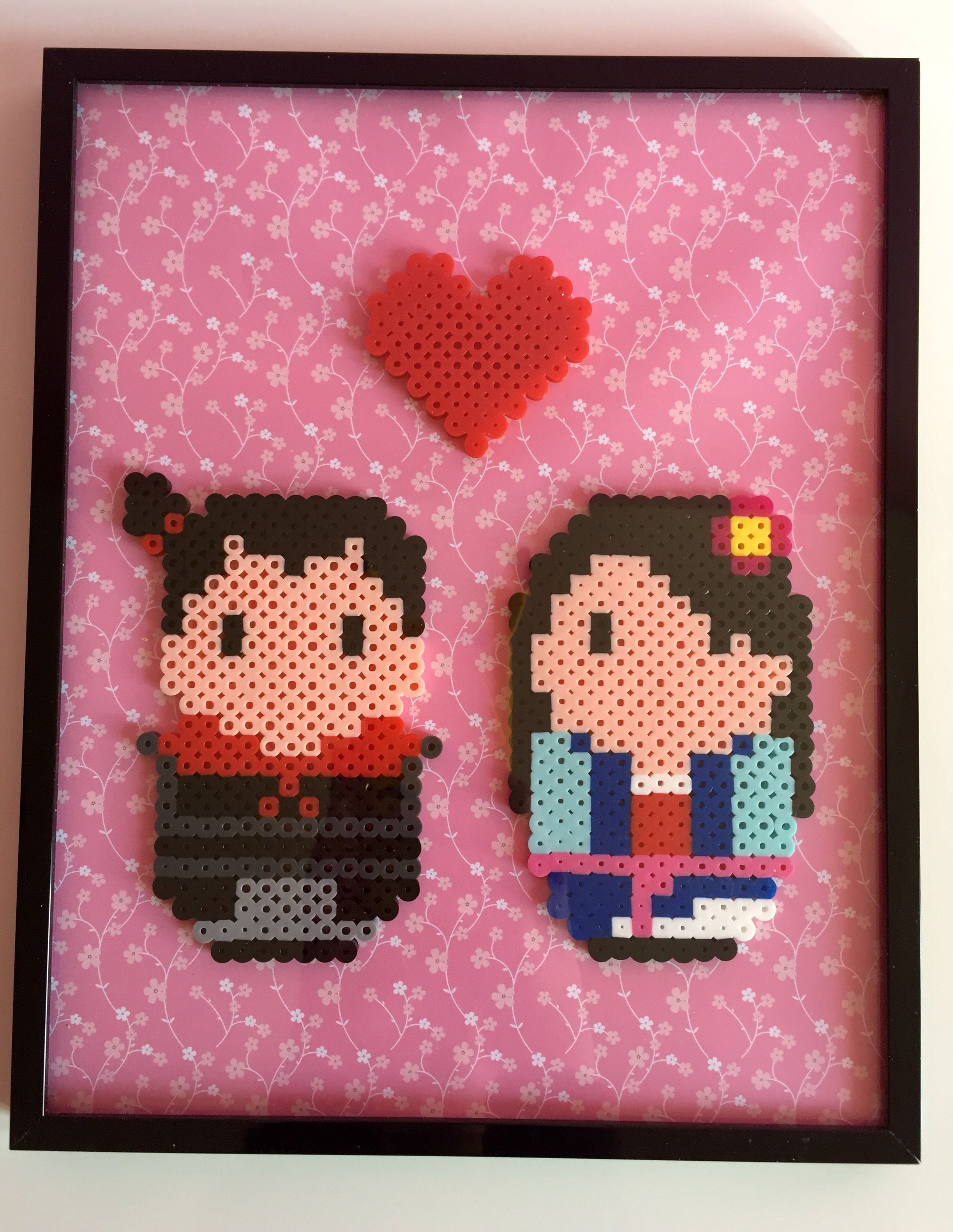 Framed Mulan and Shang Couple Perler Wall Art by Pixel