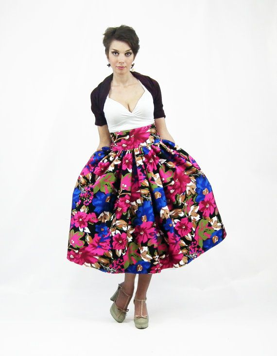 Midi Skirt - Tea Length Skirt, High Waist Full Skirt, 50's skirt ...