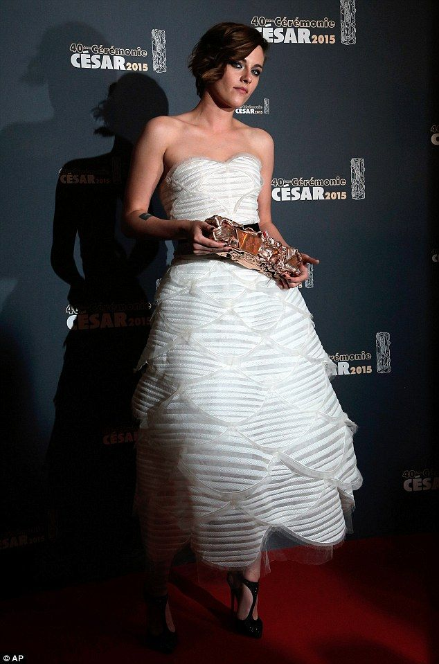 1fe91ca47a852 Kristen stole the show with her stunning strapless gown and took home the Best  Supporting Actress award during the Cesar Awards in Paris on Friday