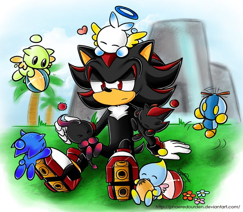 Shadow the Hedgehog in a Chao Garden... Aww, this is SO cute!