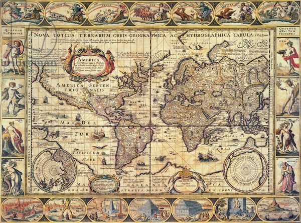World Map   Nova Totius Terrarum Orbis Geographica Ac Hydrographica     World Map   Nova Totius Terrarum Orbis Geographica Ac Hydrographica  Tabula   1608  based on Columbus s Voyage of 1492  by Pieter van den Keere