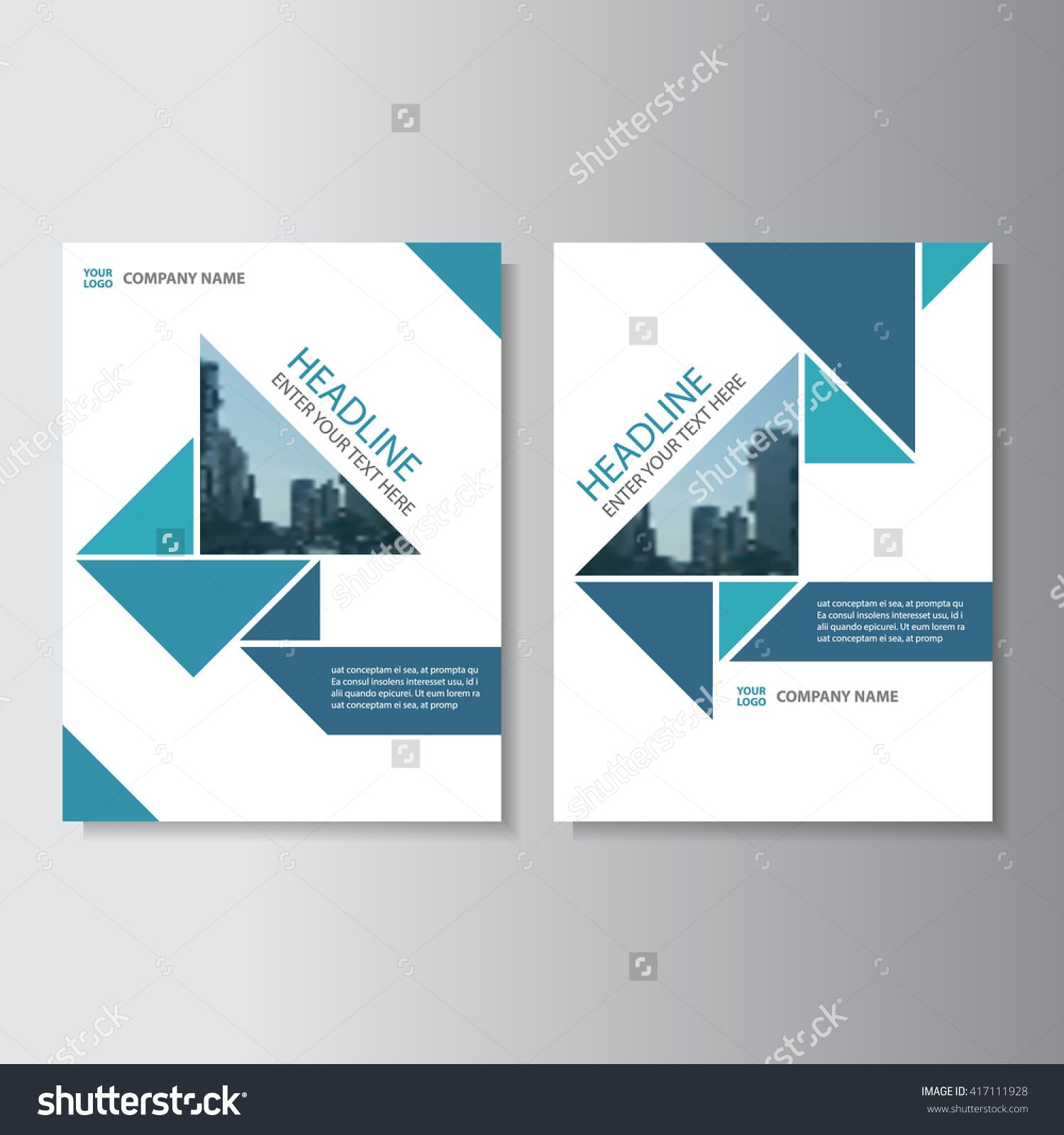 Book Cover Design Template | Blue Triangle Vector Annual Report Leaflet Brochure Flyer Template