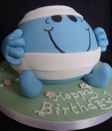 Mr Bump with flowers 12 inch Round Fruit cake Boys Birthday Cake
