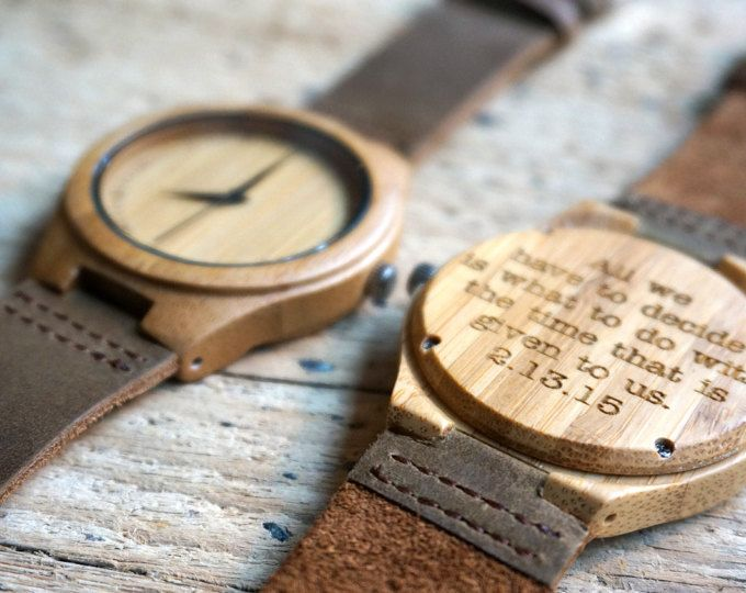 Bamboo Wood Watch Personalized Engraved With Personal Text Gift For Him Her Anniversary Weddings Groomsmen Bridesmaid