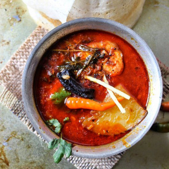 Spicy South Indian Style Cat Fish Curry With Raw Mango Perfect Side Dish For Steamed Rice Idly Dosa Etc Fish Curry Vegetarian Curry Perfect Side Dish