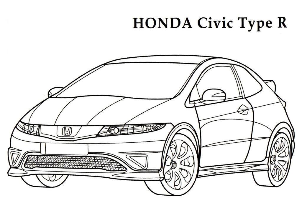 Kleurplaat Honda Civic Type R • Kidkleurplaat.nl